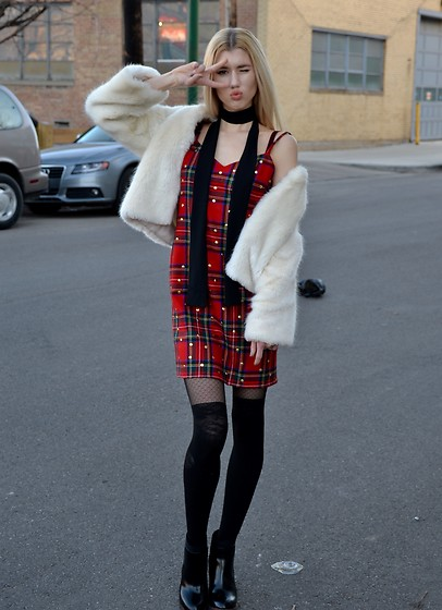 Dani Mikaela McGowan - Who What Wear Skinny Scarf, Dolce & Gabbana Vintage Tartan Dress, Steve Madden Black Booties, Topshop White Faux Fur Coat - Life Sized