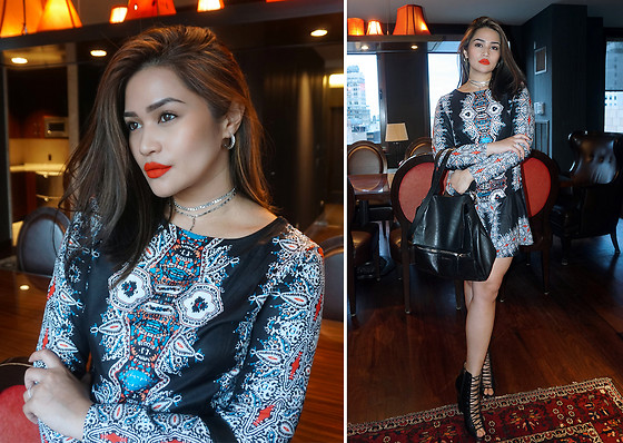Raleene Cabrera - Romwe Multicolor Vintage Retro Print Dress, Hrh Collection Chokers, Givenchy Pandora Pure Shoulder Bag, Givenchy Lace Up Wedge Pumps - 022116