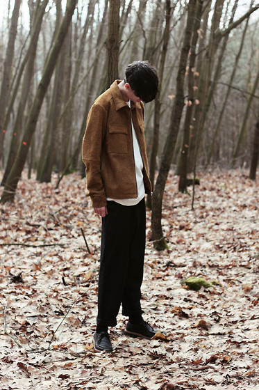Martin Tichy - H&M Studio Leather Jacket, H&M Studio Cotton Tee, H&M Trend Oversized Pants - IN THE WOODS