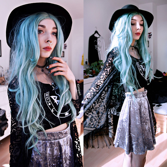 Kimi Peri - H&M Witchy Hat, Choker, Shop Dixi Moonshine Snow Opal Necklace, Monki Velvet Skirt, H&M Fishnet Tights, H&M Lace Cardigan, Black Hope Curse Crop Top, Rave Nailz Witchy - Rave(n) Doll