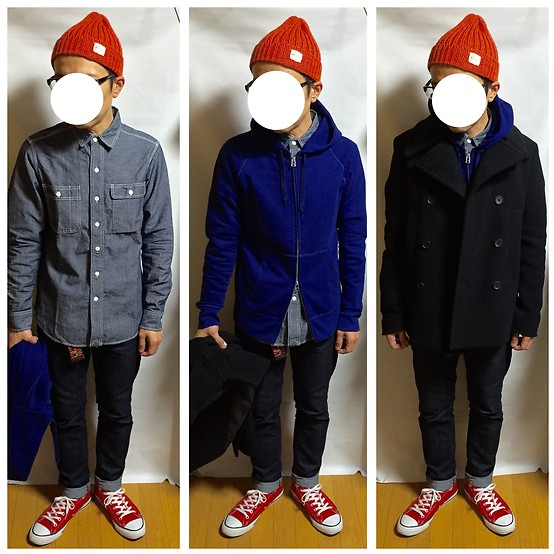 Keysyu Takagi - Global Work Cap, Global Work Pea Coat, Global Work Parka, Global Work Denim, Global Work Shirt, Converse Shoes - Tomorrow outfit