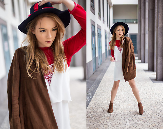 Silver Girl - Mango White Dress, Urban Outfitters Red Bandana, Stradivarius Suede Boots, Zara Red Blouse, Lamorena Leather Coat, Zara Navy Fedora - VALENTINA