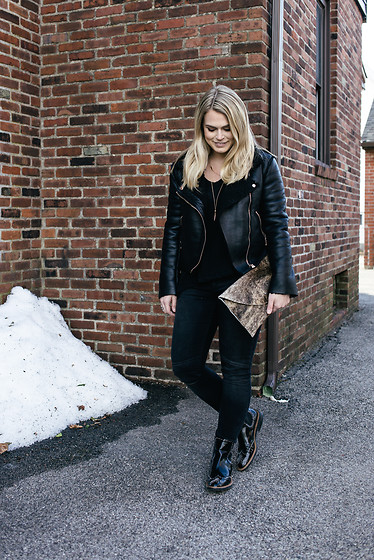 Britnie Harlow - Forever 21 Shearling Leather Jacket, Britnie Harlow Calf Hair Clutch, Zara Moto Denim, Zara Studded Boots - Shearling.
