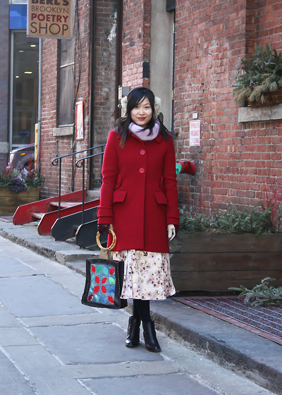 Mary G - Maje Red Wool Coat, Lc Lauren Conrad Floral Skirt, Purple Turtleneck, Jill Sander Navy Leather Ankle Boots, No Brand Patchwork Bag - Belated Valentine's Day