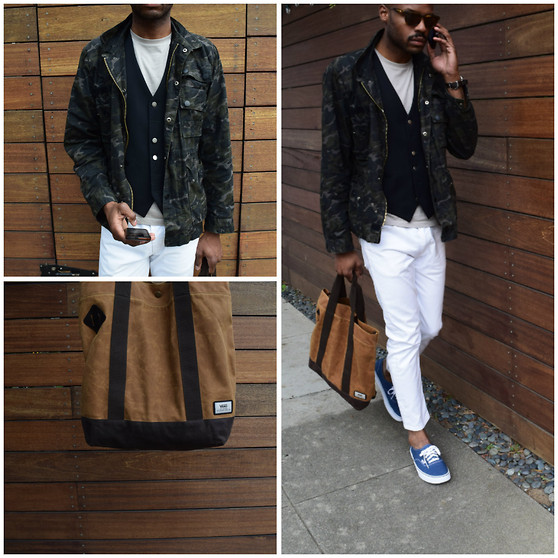 Derrick Smith - Vans Blue Sneaker, Vans Bag, Commune Military Jacket, John Varvatos Vest, Levi's White Jeans - CASUAL COOL