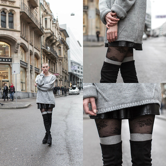 BEHINDHERMASK - Jack&Jones Sweater, H&M Fake Leather Skirt, H&M Tights, River Island Overknee Boots - Sweater weather