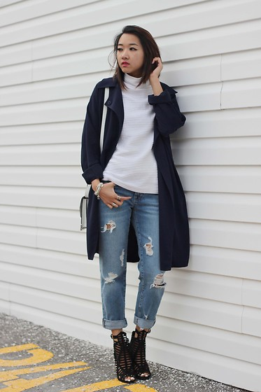 Jeannie Y - Zara Boyfriend Jeans, Twotwoshoes Heels, Forever 21 Duster Coat, Mackage Crossbody - The Boyfriend