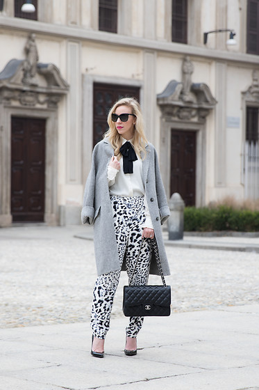 Meagan Brandon -  - Milan Fashion Week: Bow Blouse/Leopard Pants
