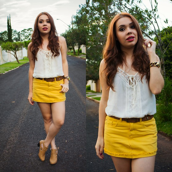 Priscila Figueredo - C&A Shirt, Riachuelo Yellow Skirt, Boots Cut Out - And oh, my heart was flawed;
