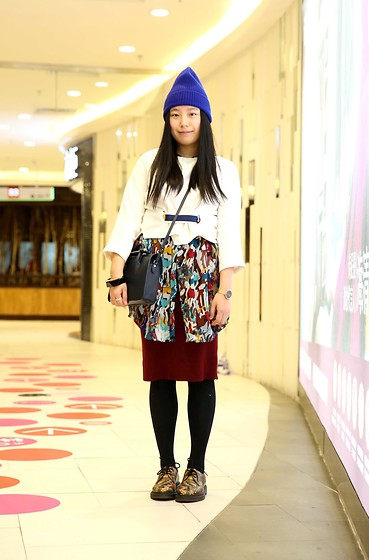 Yan Chen - Monki Blue Beanie, Doolittle White Blouse, Strathberry Navy Bag, Monki Printed Blouse, Hello Miffy Knitted Skirt, Dr. Martens Printed Shoes - Mix mix mix