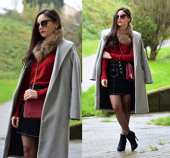 Alba . - Shein Coat -  Leather Black Skirt