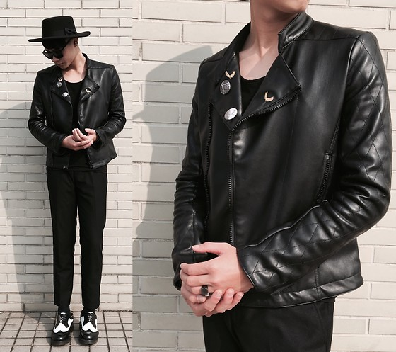 Anan Chien - Opustwo Leather Jacket, H&M Top, Cheap Monday Sunglasses, Dr.Martens Shoes - Monday mood
