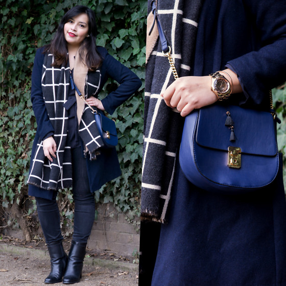 Carlinka Marisol - Promod Scarf, Hallhuber Bag, H&M Wool Coat, Next Boots, Marc By Jacobs Watch - Blue Spring Look