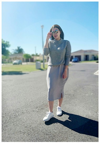 Tneale Williams - Country Road Grey Turtleneck, Grey Skirt, White Sneaks - You set my.