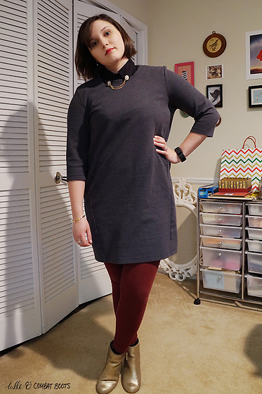 Gina S. - Modcloth Collar Pins, Old Navy Dress, Asos Collar, Old Navy Leggings, Nordstrom Gold Boots - Collared.