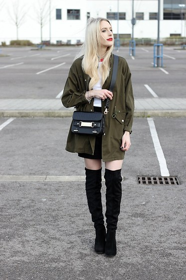 Charlotte Buttrick Lewis - Unif Khaki Army Jacket, Kurt Geiger Over The Knee Boots, Kurt Geiger Charlie Across Body Bag - Khaki Army Jacket & Over The Knee Boots In The Day