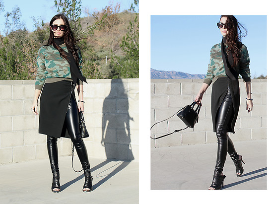 ASH - Leather Pants, Camoflauge Sweater, Zip Front Skirt - Skirt Over Pants