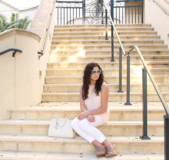Madison S - Urban Outfitters Sunglasses, Louis Vuitton Purse, Theory Blouse, Stuart Weitzman Mules - Pink in Paradise