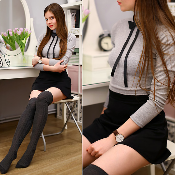 Ariadna M. - Grey Turtleneck Top, Black Bowtie Necklace, Grey Over The Knee Socks - Schoolgirl