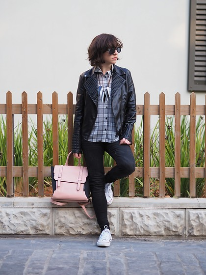Fashionella ♥ - Mango Black Skinny Jeans - Black and White Plaid shirt