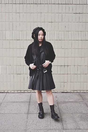 Yan Chen - Fancysh!T Black Hat, Taobao Fake Leather Cardigan, Random Piece Leather Skirt, More Please Balck Boots - Cool & cute black