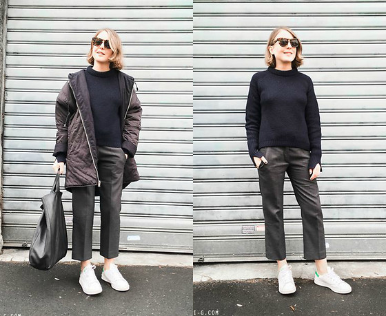 Trini Gonzalez - Céline Sunglasses, 3.1 Phillip Lim Sweater, Isabel Marant Trousers, Adidas Sneakers, Céline Bag, Maje Coat - Grey and Navy