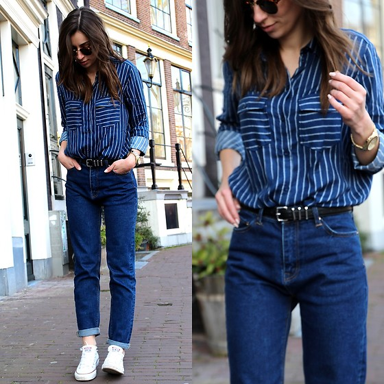 Betty K - H&M Shirt, Stradivarius Mom Jeans - ALL BLUE