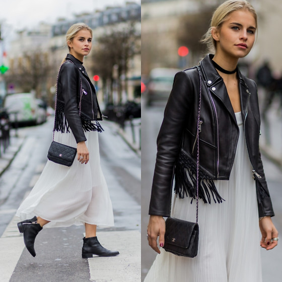 Caro Daur - Chanel Bag, Maje Dress, Maje Jacket - Boho look