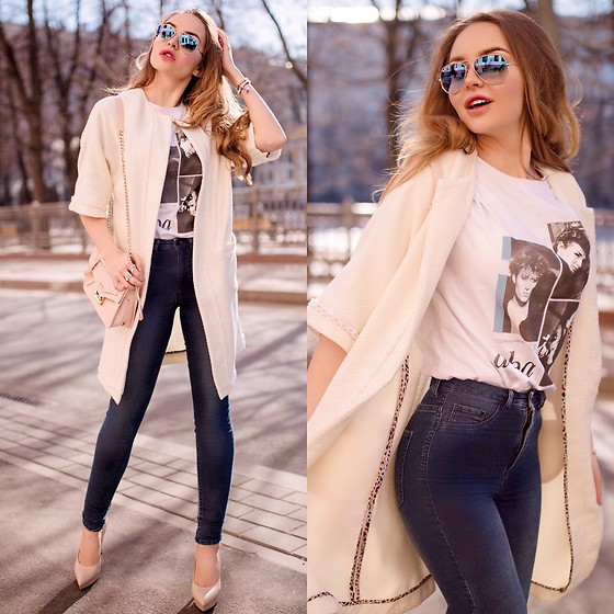 Alina Feminudity - Furla Bag, H&M Jeans, Saint Laurent Heels, Ray Ban Shades, Asos Brecelets - Spring is here