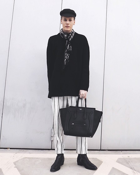 Martijn Maagdenberg - Acne Studios Knit Sweater, Zara Striped Pants, Sandro Leather Boots, Alexander Mcqueen Silk Skull Scarf, Isabel Marant Cap, Céline Bag - Untitled #41