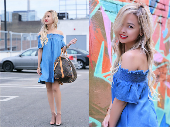Lina Dinh - Urban Outfitters Off Shoulder Dress, Louis Vuitton Keepall Duffle, Balenciaga Peep Toe Booties - OFF-THE-SHOULDER DENIM DRESS