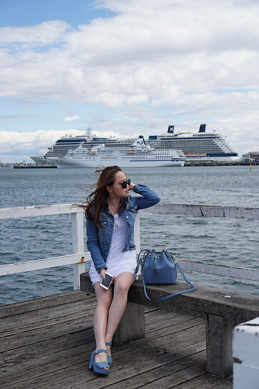 Eliza Tanudjaja - Michael Kors Blue Bag, Zara Denim Jacket, Miu Sunglasses - Whites and Denim