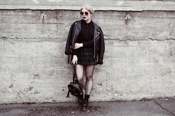 Thelma Malna - Zerouv Sunglasses, Mango Blouse, 2nd Hand Leather Jacket, American Apparel Tennis Skirt, Dolls Kill Backpack, Dr. Martens Boots - Leather jacket & tennis skirt