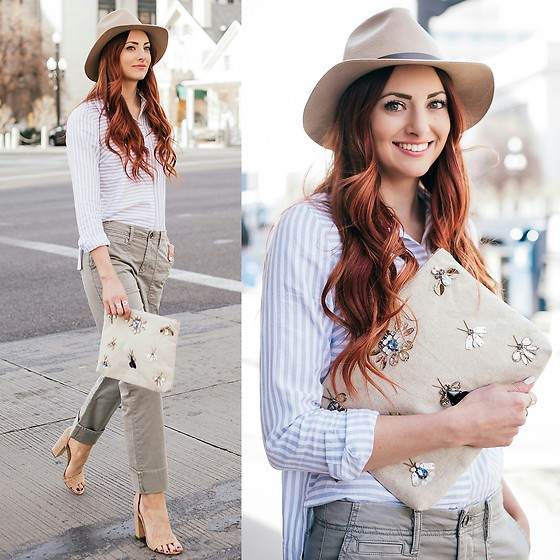 Jackie Welling - Banana Republic Embellished Clutch, Banana Republic Olive Boyfriend Chinos - Spring Neutrals