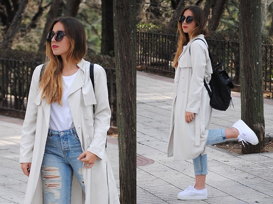 Claudia Villanueva - Zerouv Sunglasses, H&M Trench Coat, Pieces Bagpack, Zara T Shirt, Suiteblanco Jeans, Superga Sneakers - The Bagpack