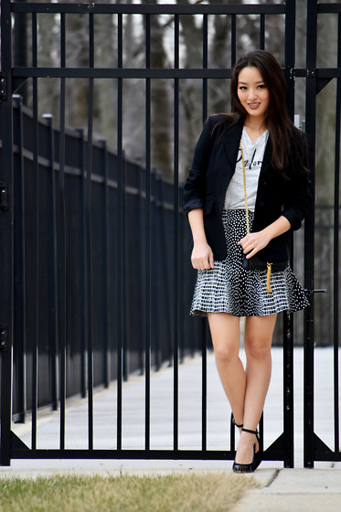 Kimberly Kong - Hugo Boss Fitted Blazer, Old Navy J'adore Graphic Tee, Bcbg Bandage Skirt, Ysl Tassel Crossbody, Bcbg Ankle Strap Heels - J'adore
