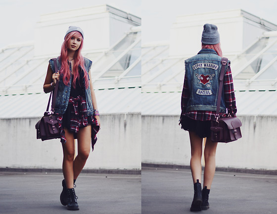 Amy Valentine - Gypsy Warrior Denim Vest, Grafea Camera Bag, Dr Martens Snake 1460 Boots - HEADLIGHTS CALL MY NAME