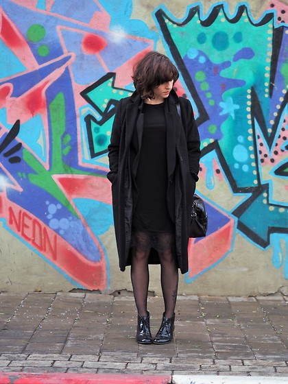 Fashionella ♥ - French Connection Uk Black Lace Dress, H&M Coat - All Black