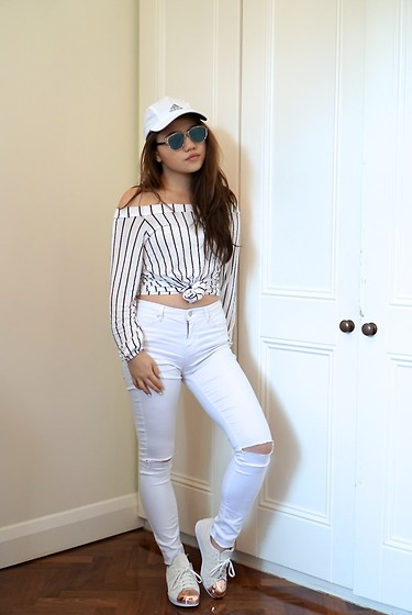 Eliza Tanudjaja - Christian Dior Sunglasses, Topshop White Skinnies, Boohoo Striped Over The Shoulders Top, Adidas Superstar 80s Rose Gold - Superstar 80s Rose Gold