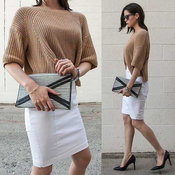 Julie R - Free People Cable Knit Camel Crop Sweater, Worthington White Pencil Skirt, Danielle Nicole Nia Envelope Clutch, Jessica Simpson Black Pumps - I've Traveled 6,000 Miles 30,000 Feet Just To See You