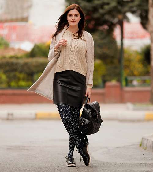 Viktoriya Sener - Sheinside Coat, Sheinside Sweater, Asos Skirt, Chicwish Backpack, Trendy Legs Tights, Asos Brogues - RELAX