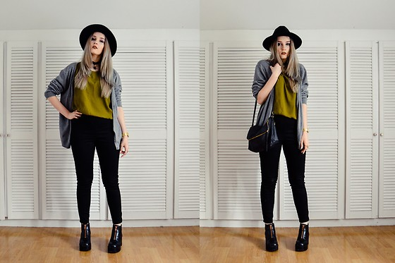 Agnieszka Warcaba - H&M Hat, Bornprettystory Necklace, H&M Sweater, Second Hand Top, H&M Jeans, H&M Boots, Aliexpress Watch, Bornprettystore Rings, H&M Bag - Green-yellow top- MISGUIDEDFASHION