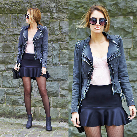 Ruxandra Ioana - Lookbookstore Studded Shoulder Denim Blazer, Fiore Tights - Diggy Down
