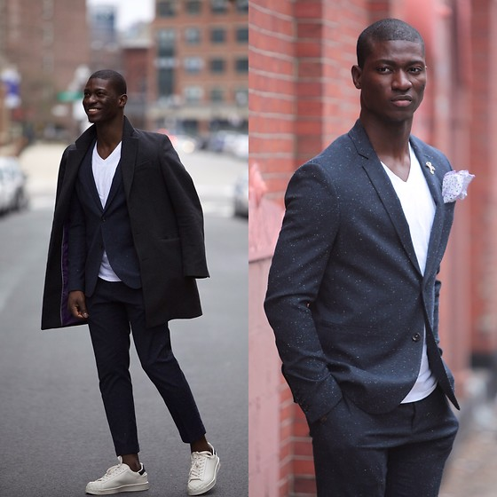 Nas Abayomi - Blue Fleck Suit, Tweed Coat, White Plimsole - Fleck Suit