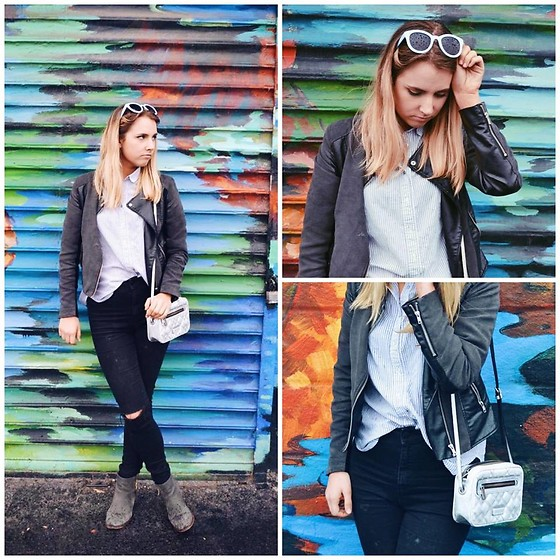 Amelia Burns - H&M Jacket, Missguided Pants, Steve Madden Booties, Marc By Jacobs Bag - Street Art Gives Me Style