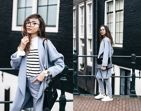 Bea G - Coat, Top, Jeans, Sneakers, Bag - Baby Blue in Amsterdam