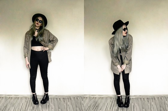 Agnieszka Warcaba - H&M Hat, Second Hand Jacket, Diy Top, H&M Jeans, H&M Boots, Bornprettystore Necklace, Tkmax Sunglasses - Khaki jacket