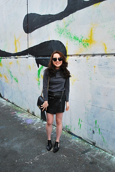 Eliza Tanudjaja - H&M Pleather Skirt, Chanel Boy, Miu Sunglasses - Staples
