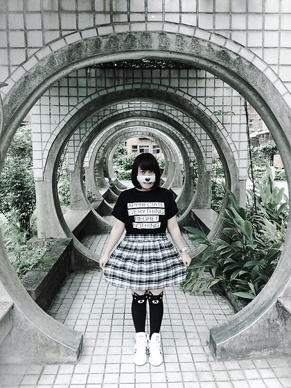 Dianne G. - Tanshirts Clothing Appreciate Everything, Regret Nothing Black T Shirt, Forever 21 Checkered Black & White Skirt, Adidas Top Ten White & Navy Blue Mid Top Sneakers, Art Stone Co., Ltd. Taiwan Dog Small Sized Mask, Ximending Bear Tattoo Stockings - Dog Mask + Bear Stockings