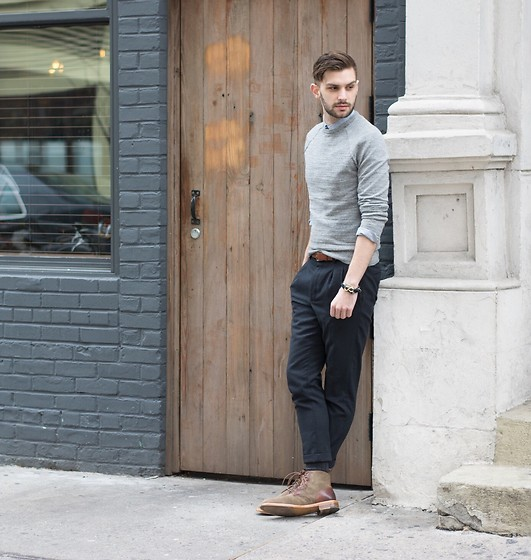 Aaron Wester - Crosby Square Boots, Allsaints Cropped Pants, J. Crew Sweater - Spring for Boots